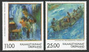 Greenland 340-341,MNH.Michel 325-326.Paintings, Hans Lynge,1998. Brother Gets.