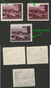 CROATIA - NDH - 3 MNH STAMPS, 10 kuna - DIFERENT COLOR - 1941/42/43.
