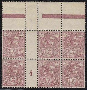 1894 Ethiopia/Ethiopie/Athiopien - N° 5 Block Of 6 With Gutter Pairs MNH