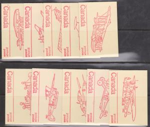 Canada - USC #BK74k - 1974 Re-Entry Set of 10 Booklets Rare Set
