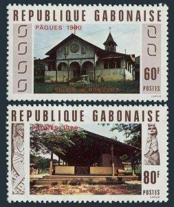 Gabon 442-443,MNH.Michel 724-725. Easter 1980.Churches.