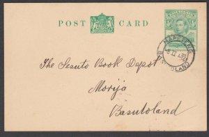 BASUTOLAND 1939 GVI ½d postcard commercially used MAFETENG to Morija........N372