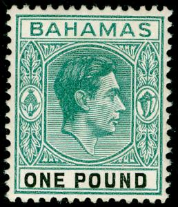 BAHAMAS SG157, £1 deep grey-green & black, THICK PAPER, LH MINT. Cat £250.