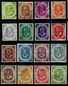 GERMANY 1951-52 NUMERAL & POSTHORN SET SG1045-1060 USED Wmk.263 P.14 SUPERB