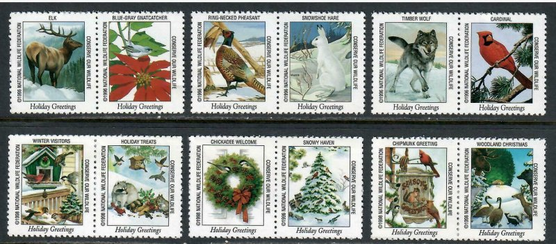 12 National Wildlife Federation Holiday Greetings Stamps - I Combine S/H