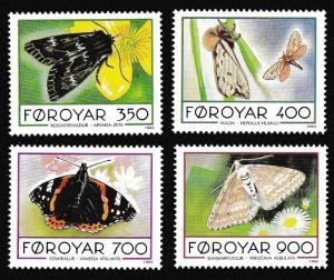 Faroe Is. Butterflies and Moths 4v SG#245-248 MI#252-255 SC#256-259