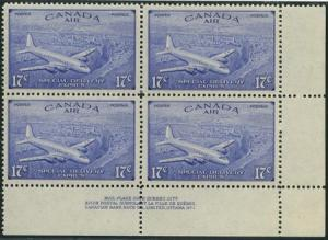 Canada - 1946 17c Air Special Delivery Pl. Block VF-NH #CE4