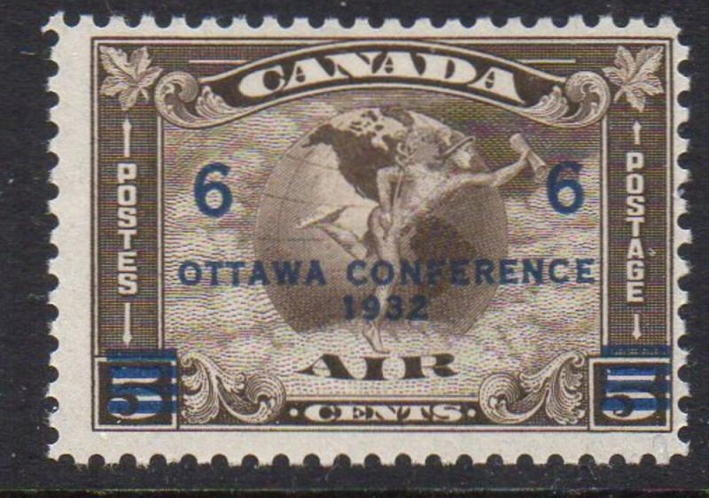 Canada Sc C4 1932 6c Ottawa Conference ovpt on 5 cent  airmail stamp mint