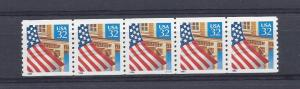 United States, 2913, Flag/Porch Plate Strip of 5 Plt#: S11111,  **MNH**
