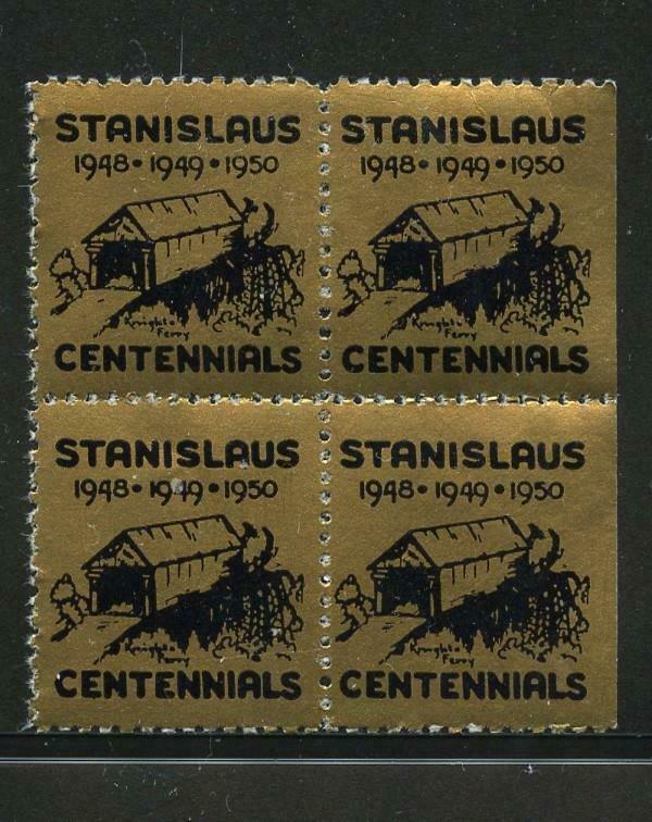 90506 STANISLAUS CENTENNIALS - 1950 MNH BLOCK OF 4 POSTEER STAMPS