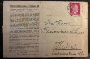 1945 Germany Dachau Concentration Camp Letter Cover to Kalisz Poland Thaolous