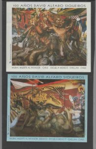 CHILE #1214-1215  1998 PAINTINGS 'DEATH TO THE INVADER      MINT VF NH  O.G  S/S