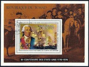 Chad 1976 US Bicentennial Souvenir Sheet Scott #C-186 CTO Charles De Grasse