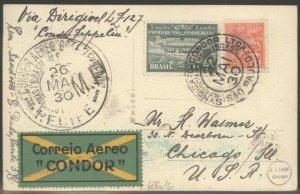 Brazil 1930 Graf Zeppelin Si59D Cover Pan America Lakehurst Chicago Condo 103479