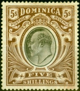 Dominica 1908 5s Black & Brown SG46 Good Mtd Mint