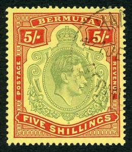 Bermuda SG118b KGVI 5/- Pale Green and Red/yellow Line Perf 14.25 (Ref 10)