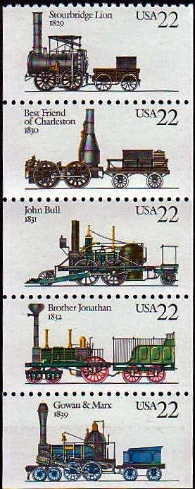 1987 22c Locomotives, Booklet Pane of 5 Scott 2362-66 Mint F/VF NH