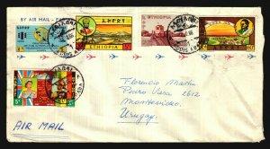 1966 Unusual destination air mail cover Ethiopia to Uruguay railway military