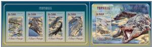 ST. TOME PRINCIPE 2014 2 SHEETS st14504ab CROCODILES REPTIL