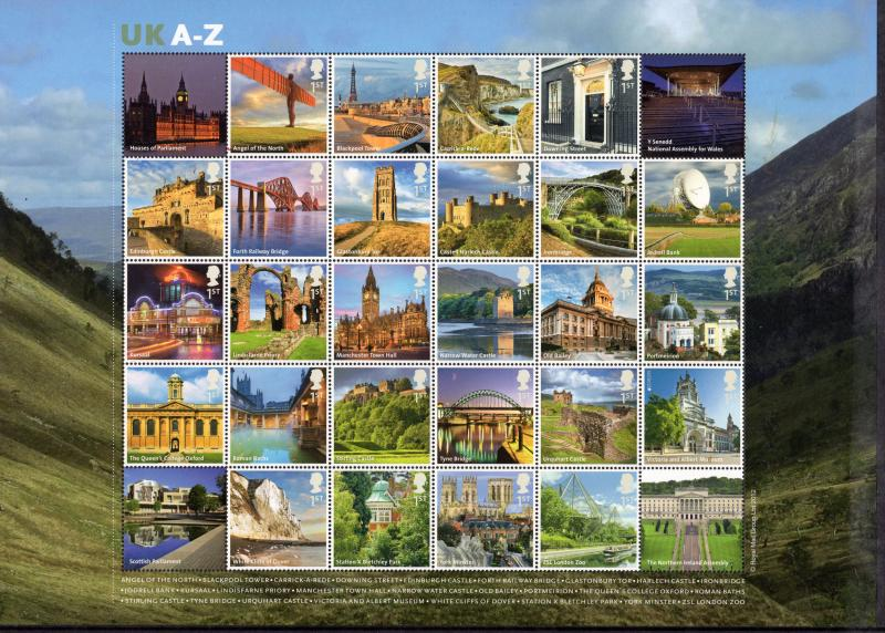 Great Britain 2012 Sc# 2972b  UK A-Z Sheet of 26 + 4 Labels MNH