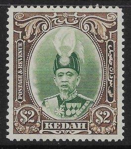 MALAYA KEDAH SG67 1937 $2 GREEN & BROWN MNH