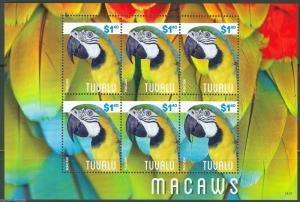 TUVALU  2014  MACAWS SHEET   MINT NH