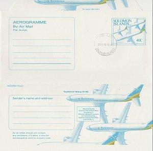 SOLOMON IS 1992 40c planes - aerogramme - CTO - Honiara cds.................K815