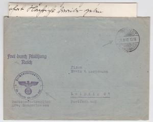 1942 Bornstedt Sangerhausen Germany Concentration Camp Official Cover w/letter
