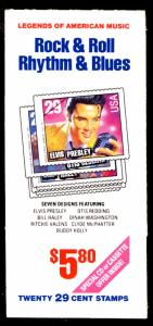 US #2737a COMPLETE BOOK, BK204 Rock and Roll, VF/XF mint never hinged, Elvis ...