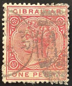 Gibraltar #10 Used F - 1p Queen Victoria w/ partial paper c1890s SCV~$5 [R805]