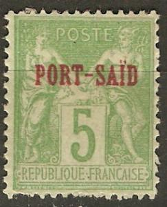 France Off Egypt Pt Said 5 Mi 5I MH VF 1899 SCV $11.00