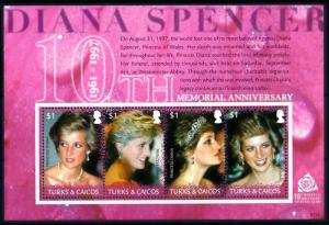 [91844] Turks & Caicos Islands 2007 Royalty Princess Diana Sheet MNH