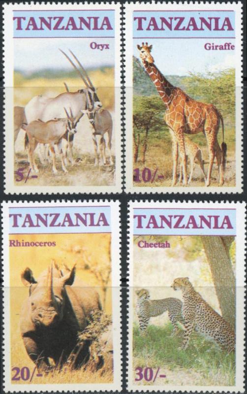 Tanzania MNH 319-22 Endangered Animals 1986