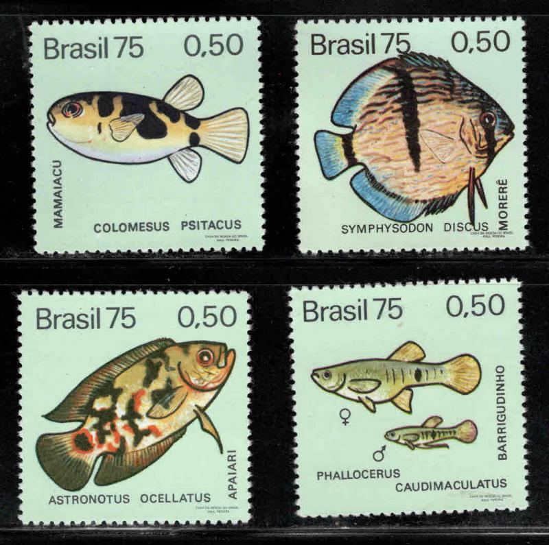 Brazil Scott 1390-1393 MNH** Fish stamp  set