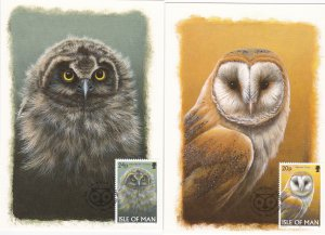 Isle of Man # 727-732, Owls, Maxi Cards, with First Day Cancels