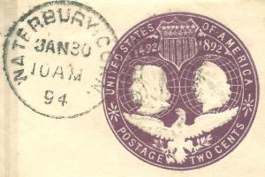 US PSE Cut-Square w/ Waterbury, Conn. Contemporary Cancel & Validating CDS