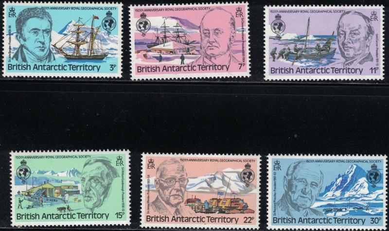 British Antarctica SC76-81RoyalGeog.Soc.-Sesquicentennial-Past Presidents MNH'80