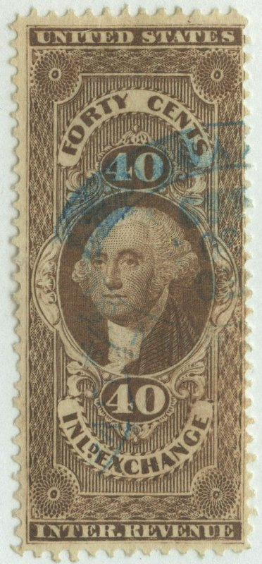 0413 U.S. revenue R53d, 40c Inland Exchange SILK PAPER. SCV = $575 RARE!