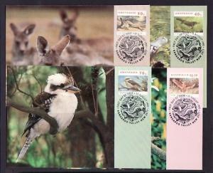 Australia, Scott cat. 1273, 1282, 1284, 1286. Wildlife issue on Maximum Cards.^