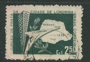 Brazil - Scott 897 - Map of Parana - 1959 - Used- Single 2.50cr Stamp