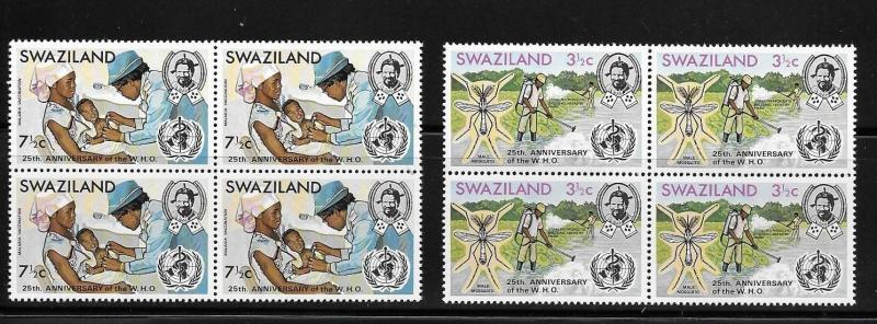 Swaziland 1973 WHO Mosquito control anti-malaria vaccination Blk of 4 MNH