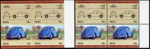 Nevis 1984 50c VW Beetle u/m imperf block of 4 (2 se-tena...