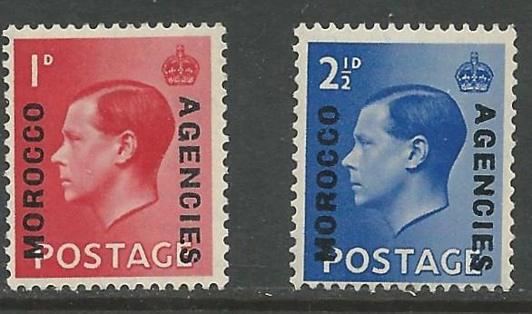 Great Britain-Morocco # 244-45 Edward VIII (2)  VLH Unused