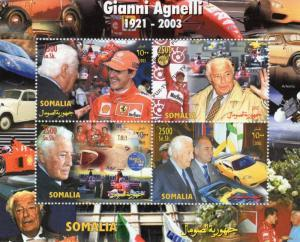 Somalia 2003 SPACE Gianni Agnelli & Schumacher Sheet Perforated Mint(NH)