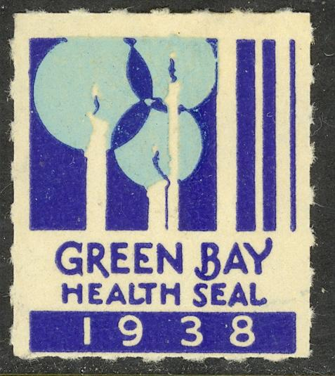 USA WISCONSIN 1938 GREEN BAY WI HEALTH SEAL Christmas Label MH
