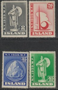Sc# 213 / 216 Iceland 1939 New York World's Fair full MNH set CV $110.00 Stk# 1