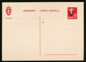 NORWAY Mi. P97 POSTAL STATIONERY POSTAL CARD 20o RED