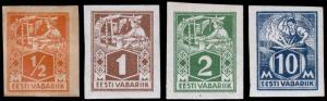 Estonia Scott 58-60, 64 (1922-23) Mint H/NH F-VF, CV $26.65