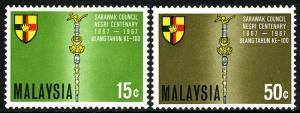 Malesia 46-47, Mnh. Arms Of Nuovi Sarawak, Council Mace, 1967