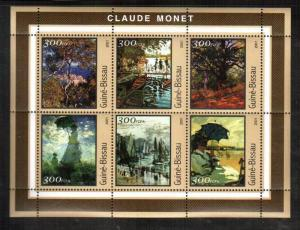 Guinea-Bissau MNH S/S Claude Monet Paintings 2001 6 Stamps